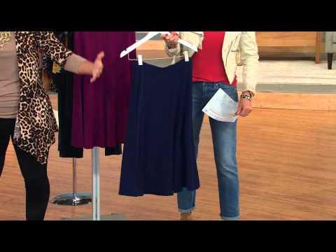 Susan Graver Essentials Solid Heavy Liquid Knit Six Gore Skirt with Courtney Cason