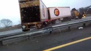 Watch: How Huge Truck Slips on Icy highway NJ freeway