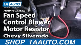 How To Install Fan Speed Control Blower Motor Resistor