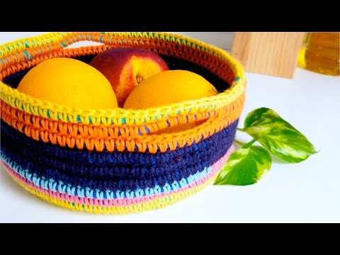 How to crochet a BASKET (with t-shirt yarn & wool) ♥ CROCHET LOVERS