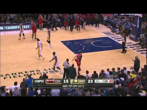 Paul George Nice Pass to Luis Scola