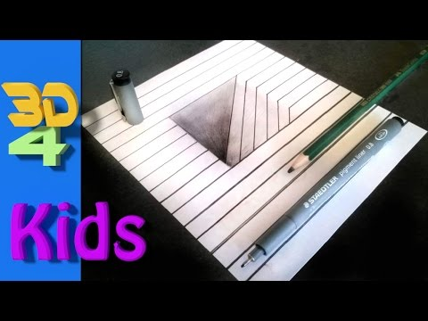 how to draw a 3d hole step by step