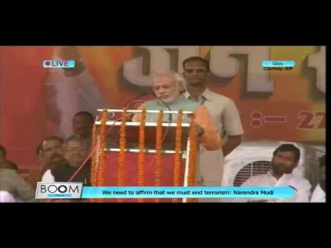 Narendra Modi speaks at a public rally in Gaya, Bihar