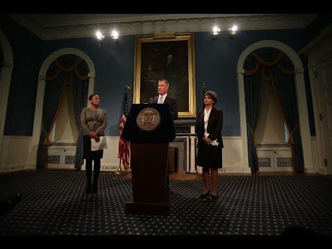 Mayor Bill de Blasio Hosts Press Conference to Make Announcement