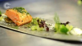 Marinated smoked salmon with dill and cucumber