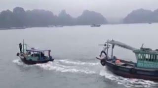 Hai tàu đuổi đánh nhau trên Vịnh Hạ Long hơn phim hành động
