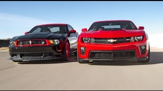 Chevrolet Camaro ZL1 vs Ford Mustang Boss 302 Laguna Seca! - Head 2 Head Episode 3 videos