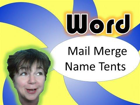 Microsoft word mail merge double sided name tents youtube for Double sided name tent template