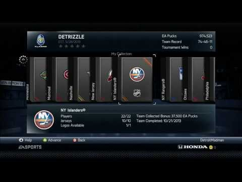 NHL 14 HUT NEW YORK ISLANDERS TEAM COLLECTION COMPLETED