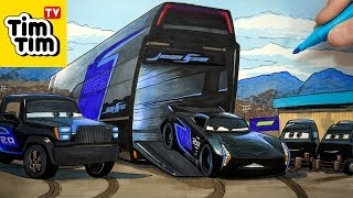 How-to-draw CARS 3 Jackson Storm and His Hauler Gale Beaufort and Pit Crew | Art for Kids