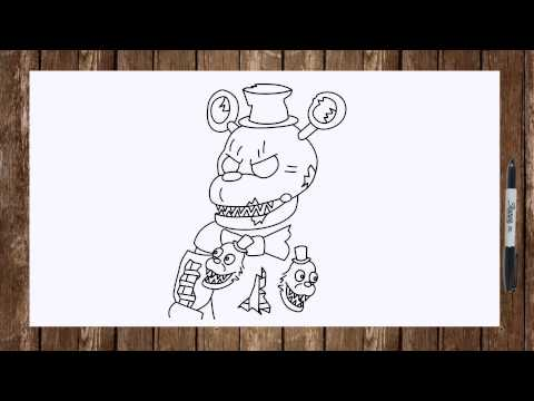 Speed drawing FNAF 4 characters Nightmare Foxy, Nightmare Freddy, Nightmare Chica, Nightmare Bonnie