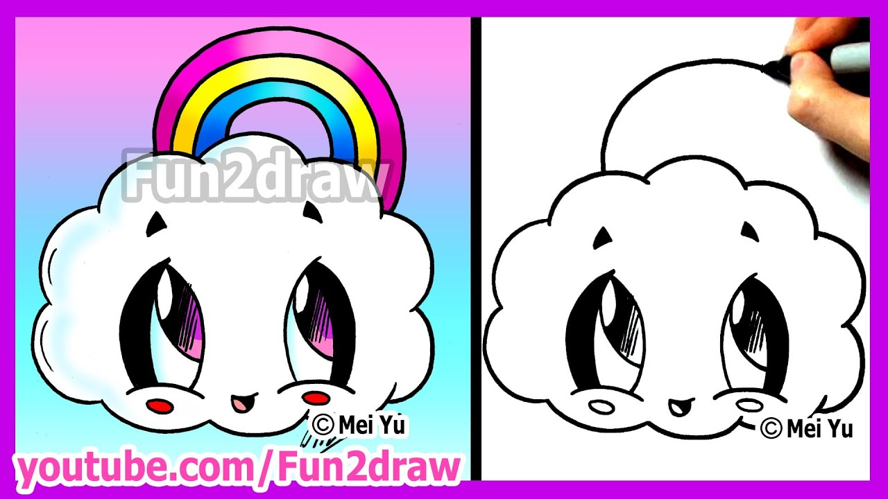 how to draw cartoons rainbow cloud fun2draw cute easy. Black Bedroom Furniture Sets. Home Design Ideas