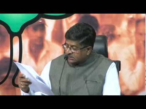 BJP Press by Shri Ravi Shankar Prasad on Patna Blast & statement of Nitish Kumar: 30.10.2013