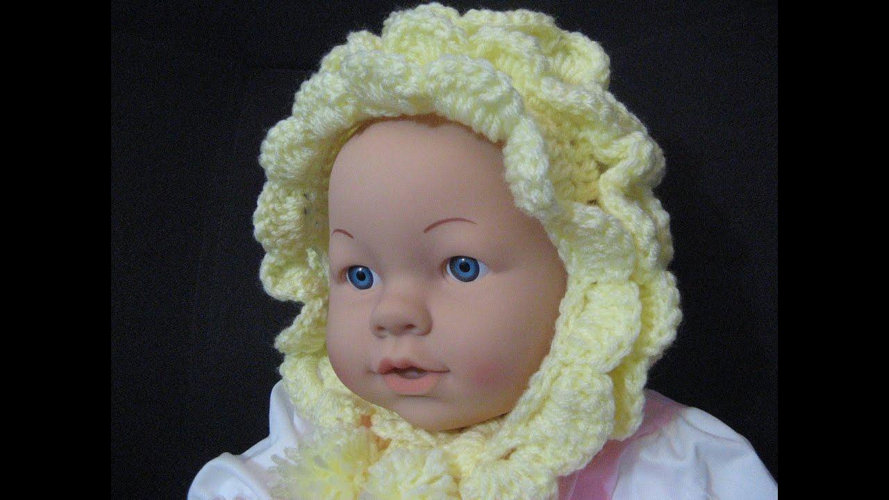Crochet Pattern Baby Bonnet Easy : Vintage Style Crochet Baby Bonnet - YouTube