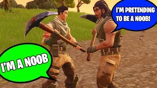 """CAUGHT KID """"PRETENDING TO BE A NOOB"""" BUT HE'S REALLY A NOOB AT FORTNITE! (I Helped Him Win!)"""