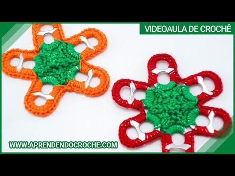 Reciclagem - Flor de Crochê com Lacres - Aprendendo Croche