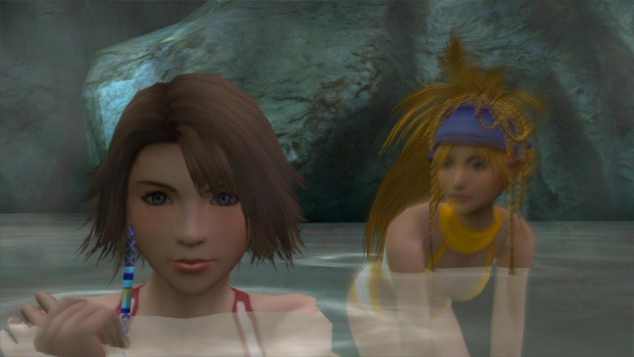 温泉に入るユウナ達三人娘