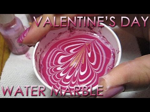 Valentine's Day Water Marble Nail Art Tutorial - YouTube, More pics in this post: http://mysimplelittlepleasures.blogspot.com/2010/02/notd-vday-water-marble-tutorial.html Nail polish colors used: Sally Hansen Petite...