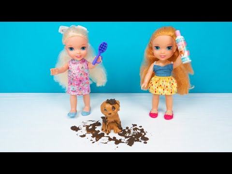 Elsa and Anna toddler dolls - MUDDY dog GROOMING SALON! 🐶 🐾 Give dirty puppy a bath🛁