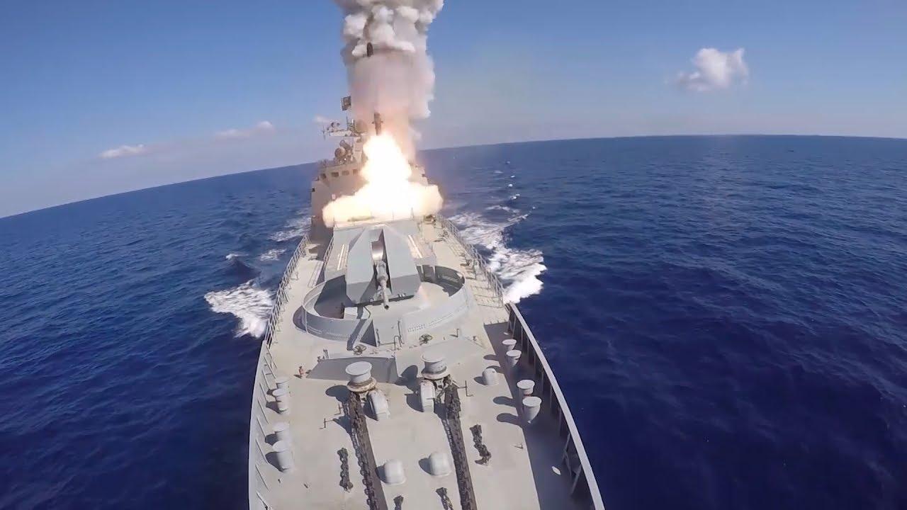 Удар крылатыми ракетами «Калибр» по ИГИЛ в Сирии кораблями ВМФ РФ в Средиземном море