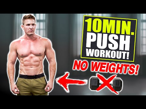 """10 MIN. """"PUSH"""" WORKOUT! CHEST, SHOULDERS, TRICEPS & ABS (BODYWEIGHT ONLY!)"""