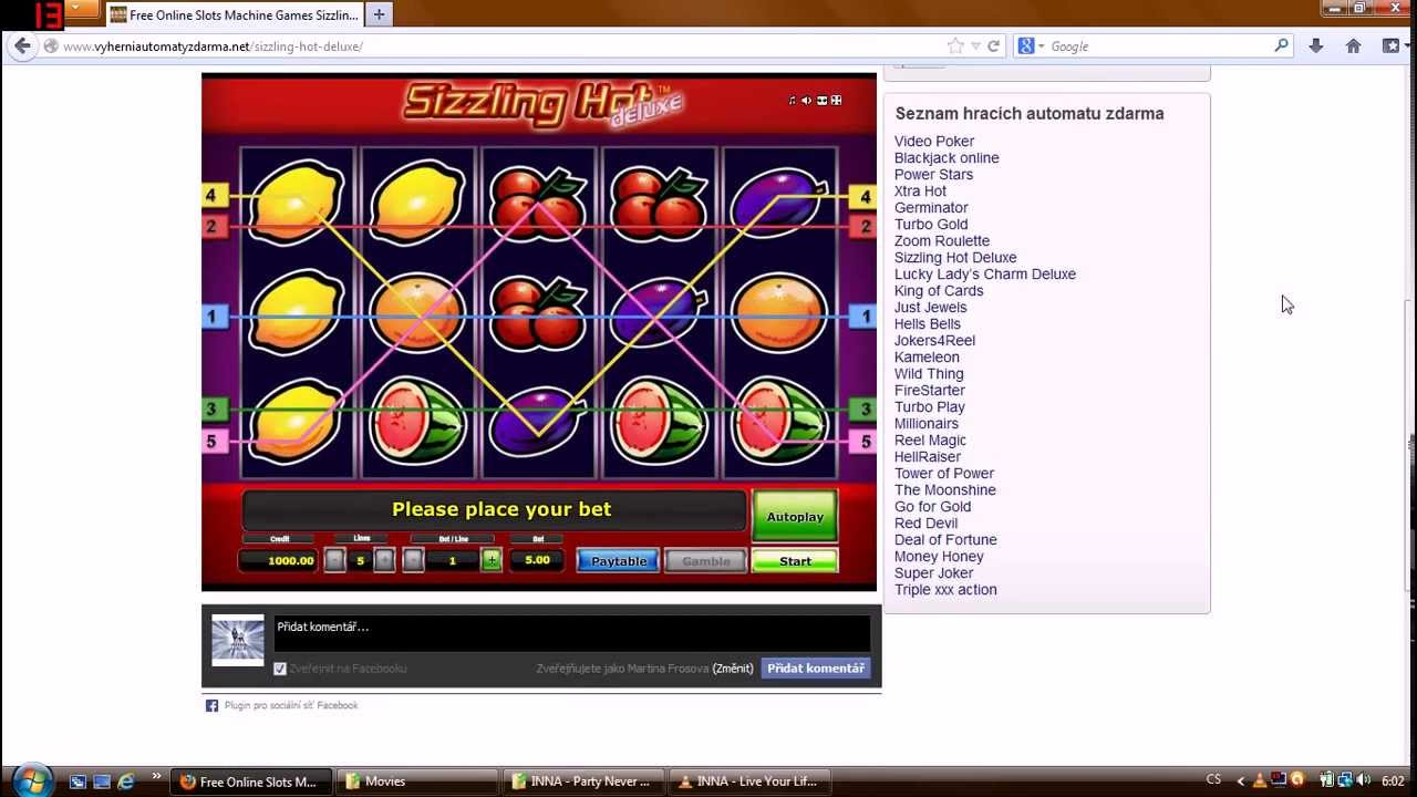 free online slots machine sizzling hot free games