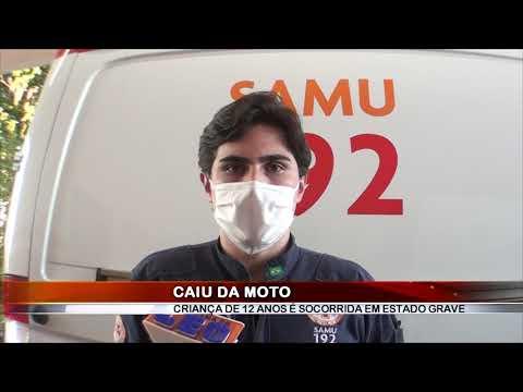 26/06/2020 - Criança de 12 anos fica gravemente ferida após queda de moto em Barretos