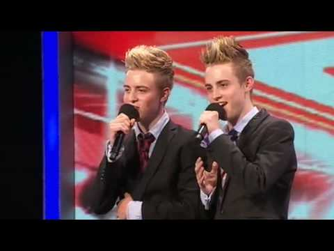 The X Factor 2009 -  John & Edward- Auditions 1 -  (itv.com/xfactor) their audition!:), The X Factor: Twins John and Edward from Ireland bound onto the stage with incredible confidence - but have they got the voices? See more at http://www.itv.c...