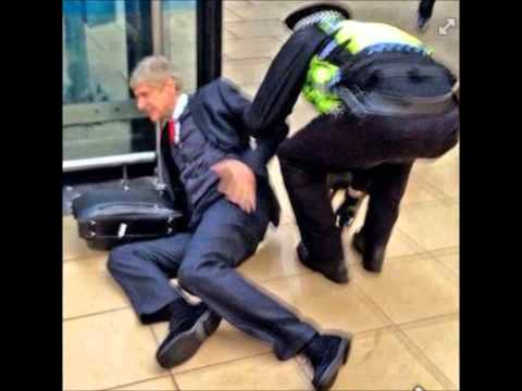 Arsene Wenger falls in Anfild's stadium after the match Liverpool vs Arsenal 5-1