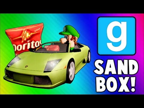 Gmod Sandbox Funny Moments - Driving Test, Banana Gun, Soccer Fun, To the Butt Cave!
