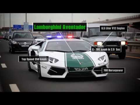 Dubai Police with Lambo, Ferrari, Camaro:  fastest cop cars in the world!