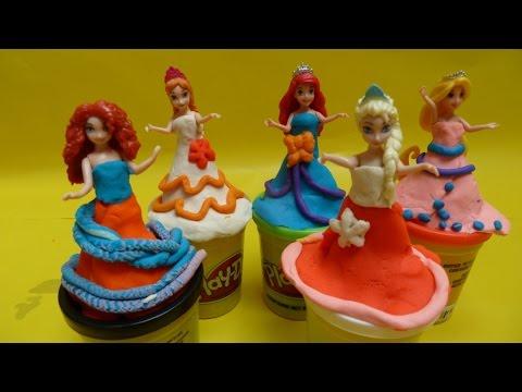 Búp Bê Công chúa Tuyết Elsa Nàng Tiên Cá Ariel -  Những Bộ Váy đất nặn đẹp (Bí Đỏ) - Magic Clips