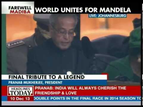 President Pranab Mukherjee's speech at Mandela memorial