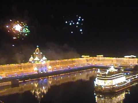 Fireworks Display Celebration At Golden Temple Amritsar.