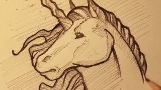 Draw A Unicorn, Sketching A Unicorn Horse, Step By Step
