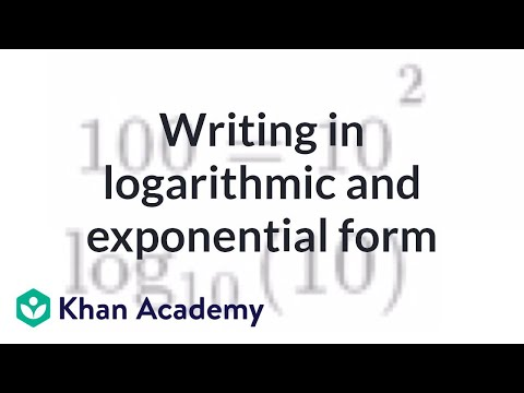 Writing in logarithmic and exponential form