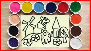 Đồ chơi trẻ em TÔ MÀU TRANH CÁT hươu cao côr - Colored Sand Painting (Chim Xinh)