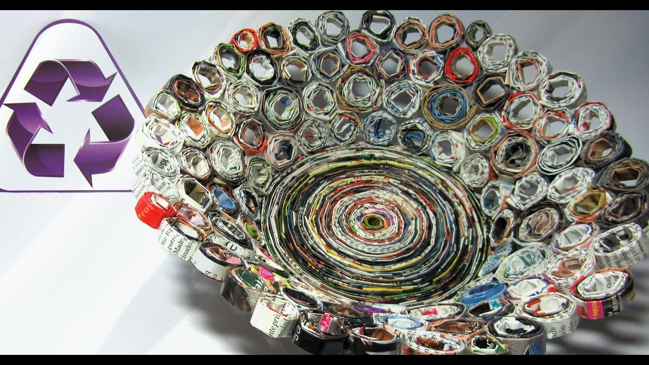 Reciclaje cesta hecha con revistas basket made with - Manualidades con papel periodico ...