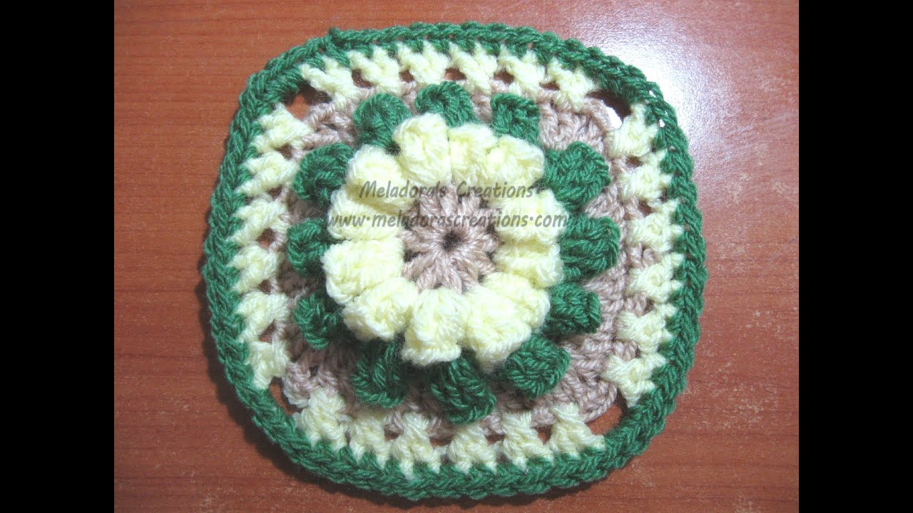 Popcorn Granny Square - Crochet Tutorial - YouTube