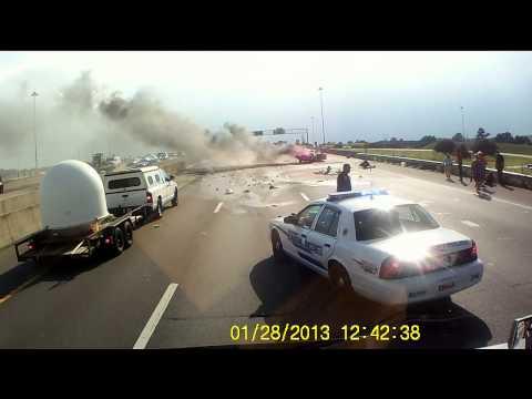 Biloxi, Mississippi I-10 Car Crashes Into Semi, Explosion