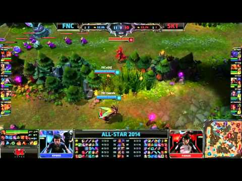 Fnatic (xPeke Kassadin) VS SKT (Faker Zed) Highlights - Allstars Paris 2014
