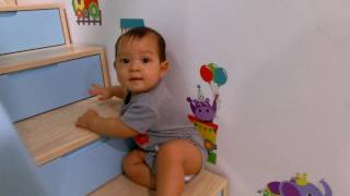 Lý Hải Minh Hà  Family   Bé Mio 8 Tháng Leo Cầu Thang