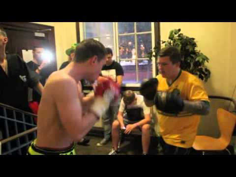 RICKY HATTON MBE TAKES ANTHONY UPTON ON PADS BEFORE FIGHT AGAINST AREK MALEK (FOOTAGE)