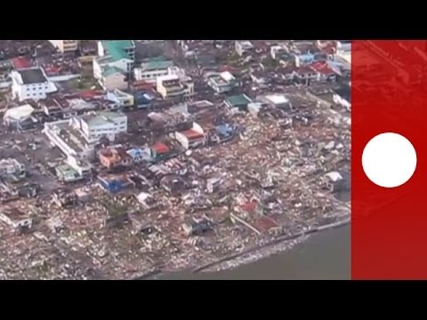 Aerial video shows devastation in Tacloban after Typhoon Haiyan in Philippines