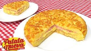 Rica Tortilla de patatas rellena de Jamón y queso