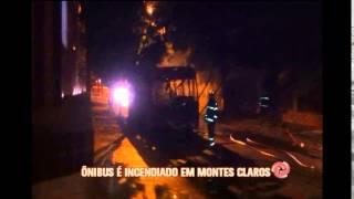 Criminosos colocam fogo em �nibus coletivo em Montes Claros