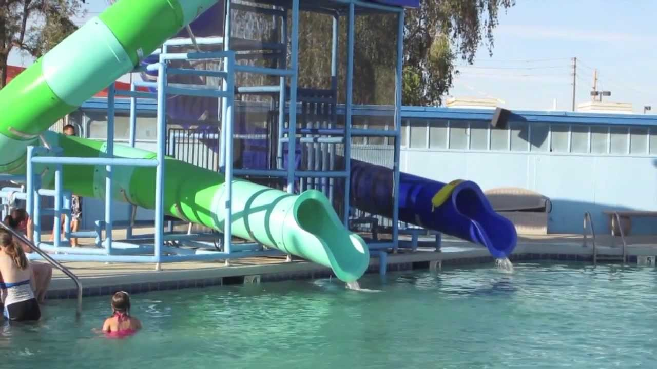 Swimming pool and water slide fun youtube - Cool indoor pools with slides ...