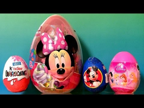 22 Surprise Eggs Bags Giant Minnie Mouse Easter Egg PeppaPig Disney Princess Kinder Choco HelloKitty