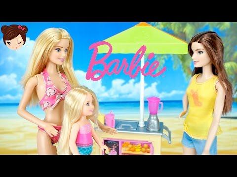 Barbie y sus hermanas en la Playa - Carrito de Jugos y Batidos de Barbie