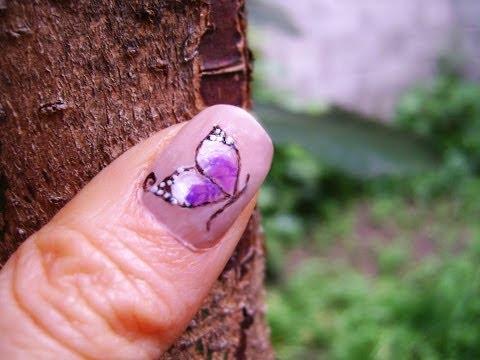 Uñas de Mariposas (muy facil) - Butterfly nails (easy design)